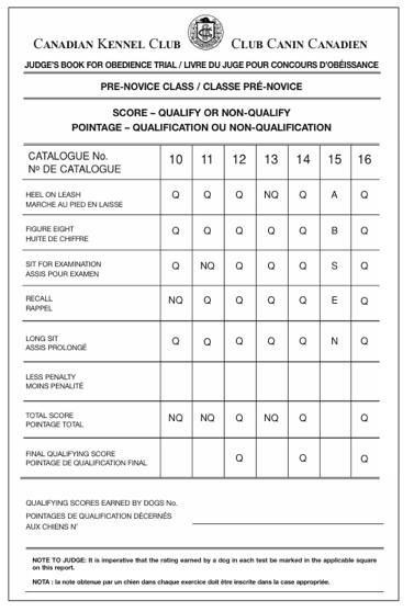 Pre-Novice Class Obedience Trial Sample Judging Chart